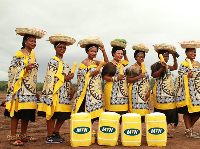 Women in traditional Eswatini regalia; image courtesy of Ekhaya Kusekhaya